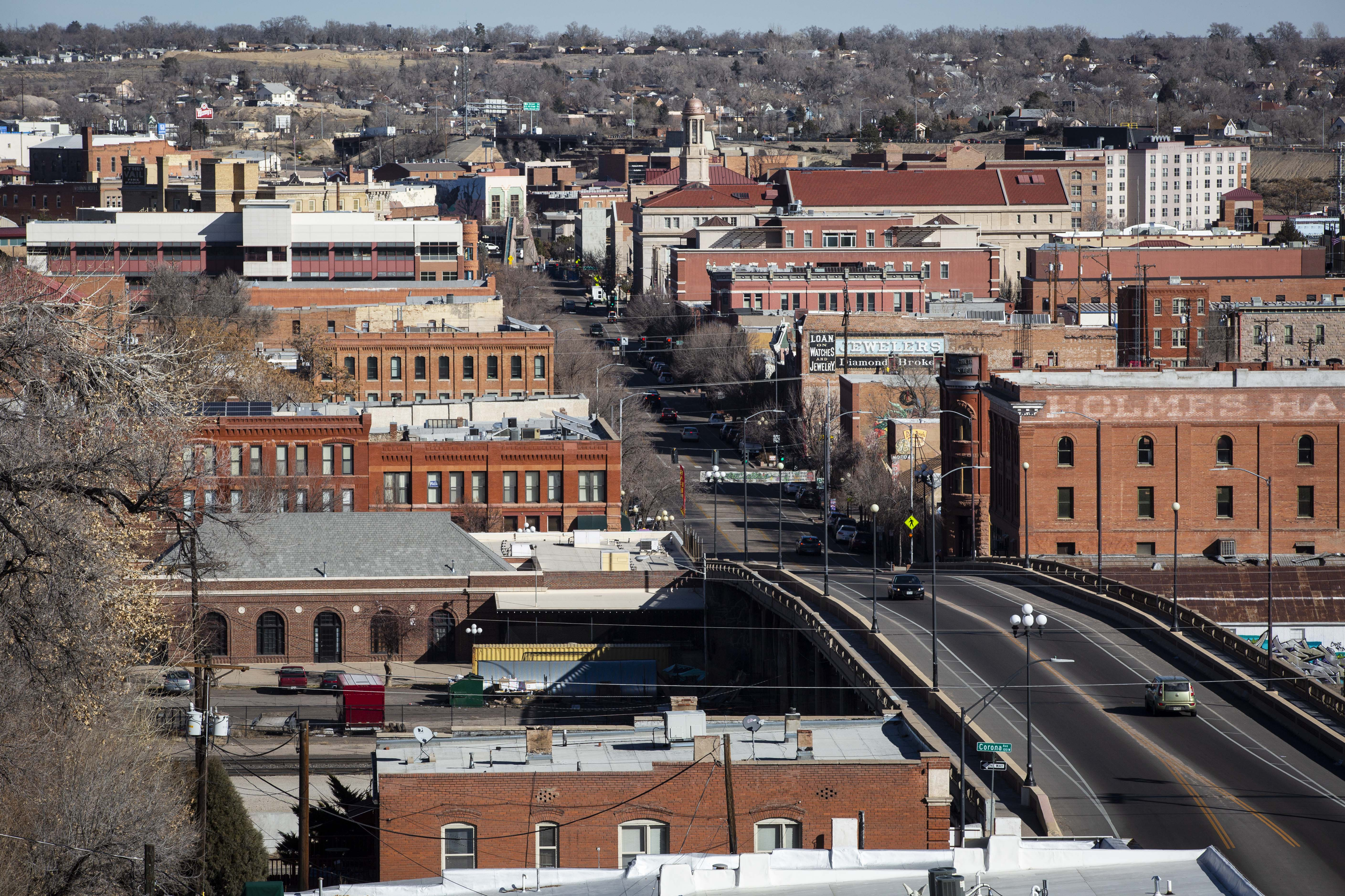 Pueblo's Union Avenue stretches across the Arkansas River through downtown.