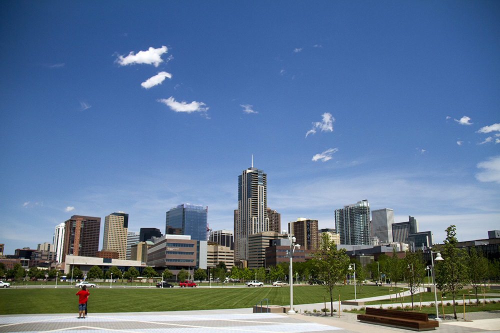 The downtown Denver skyline as seen from the Tivoli Brewing taphouse's patio on the Auraria campus.
