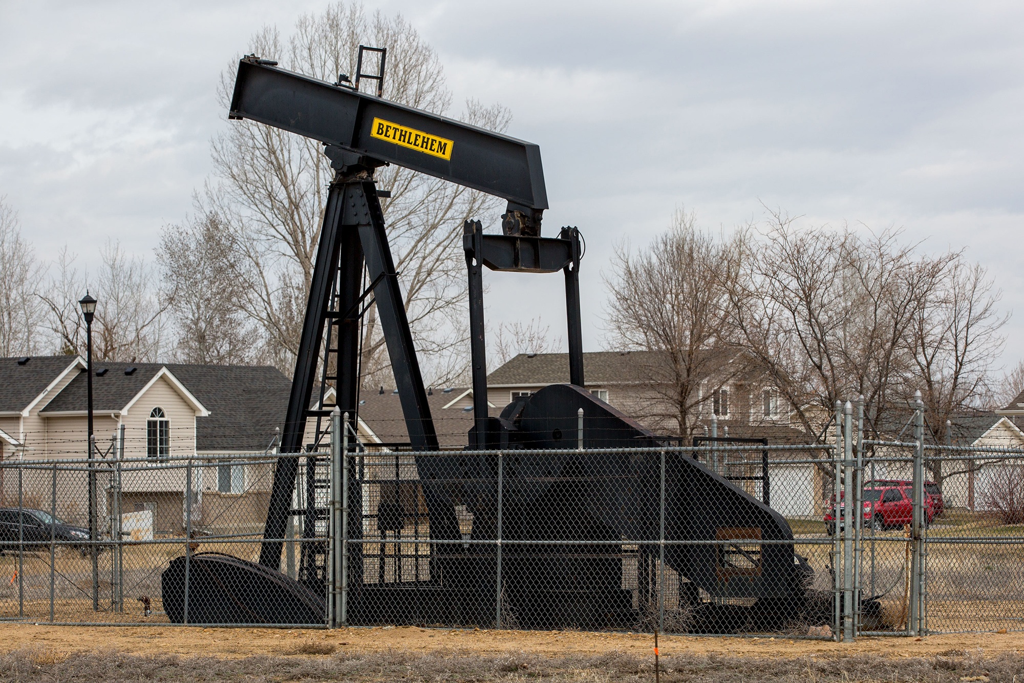 A pumpjack borders a neighborhood in southern Weld County.