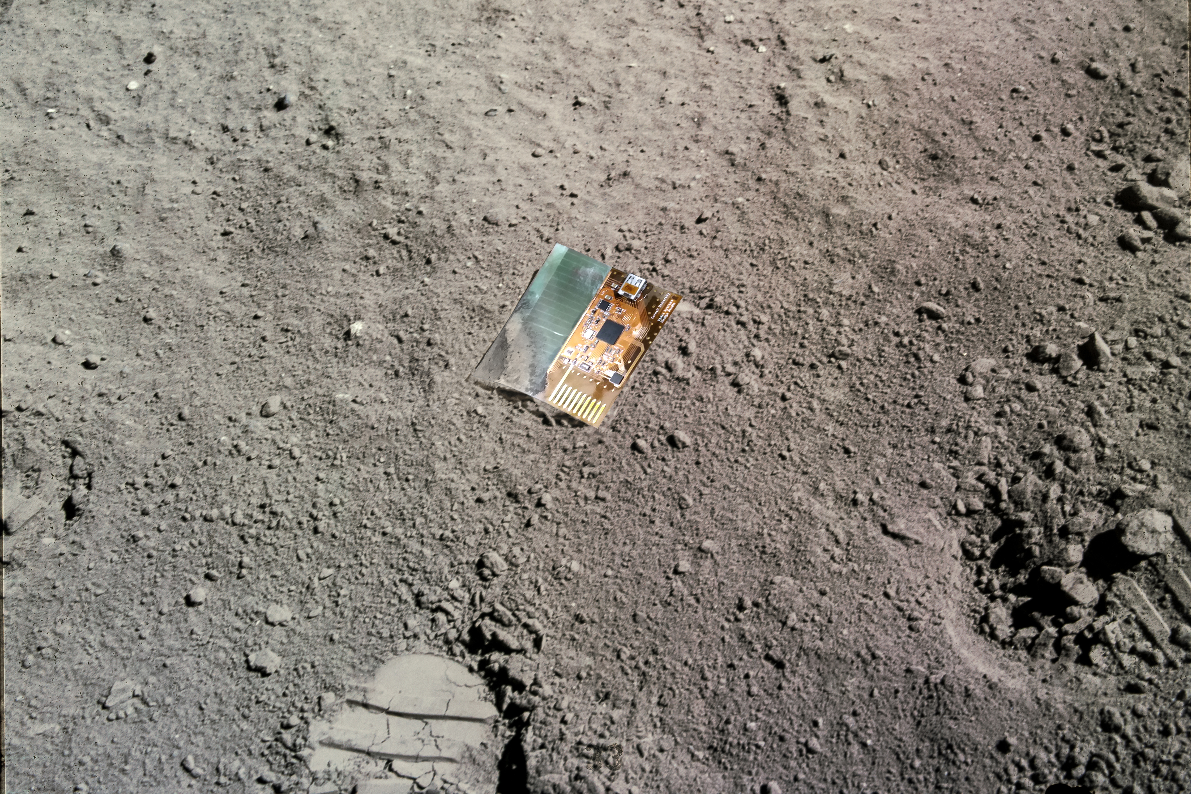 An artistic rendering of a LunaSat spacecraft on the surface of the Moon.