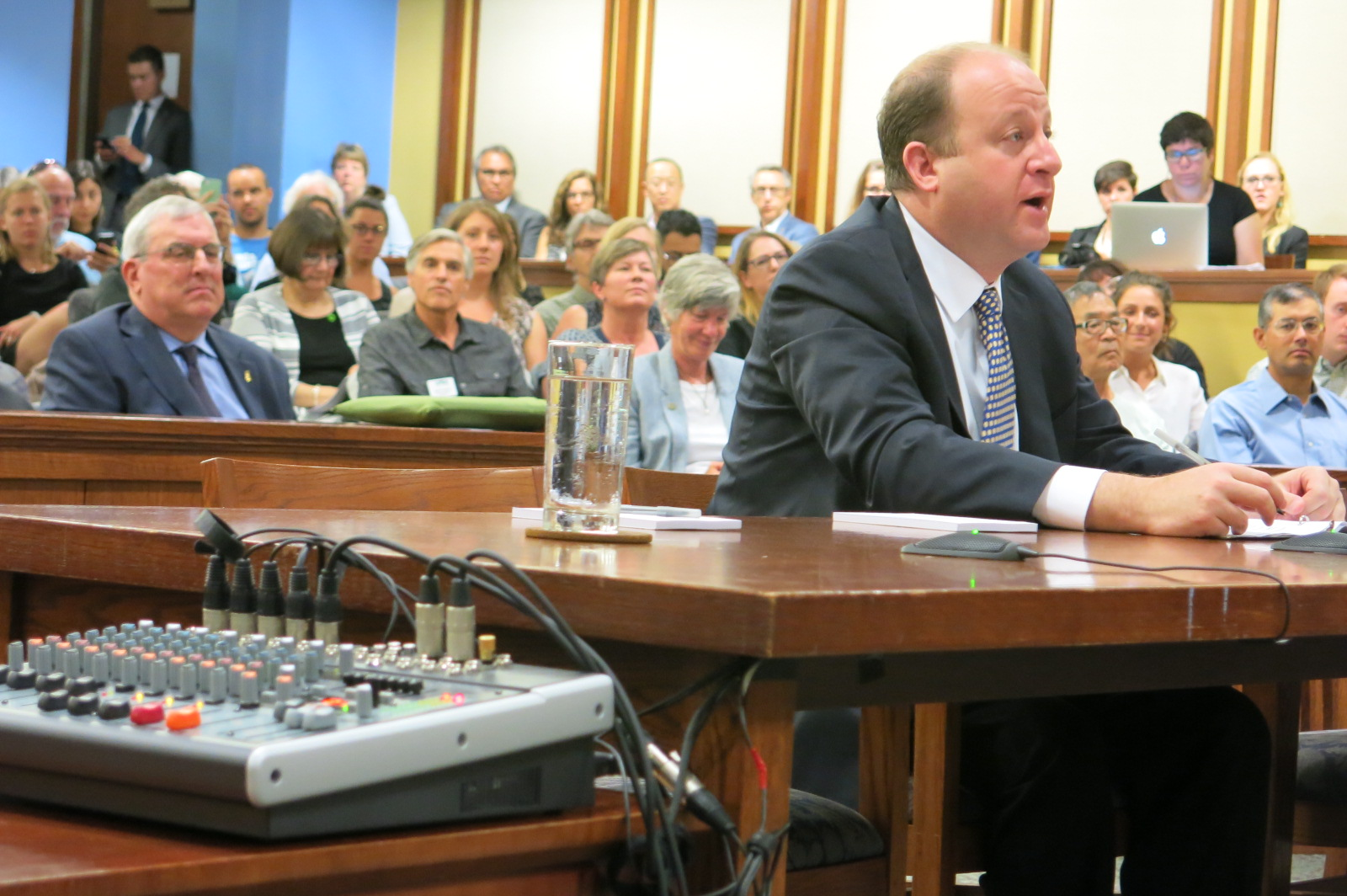 Gov. Jared Polis addressed a House Select Committee on the Climate Crisis Aug. 1, 2019 at its first field hearing in Boulder.