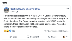 A screenshot of a Facebook post from the Costilla County Sheriff's Office during the morning of August 7, 2019.