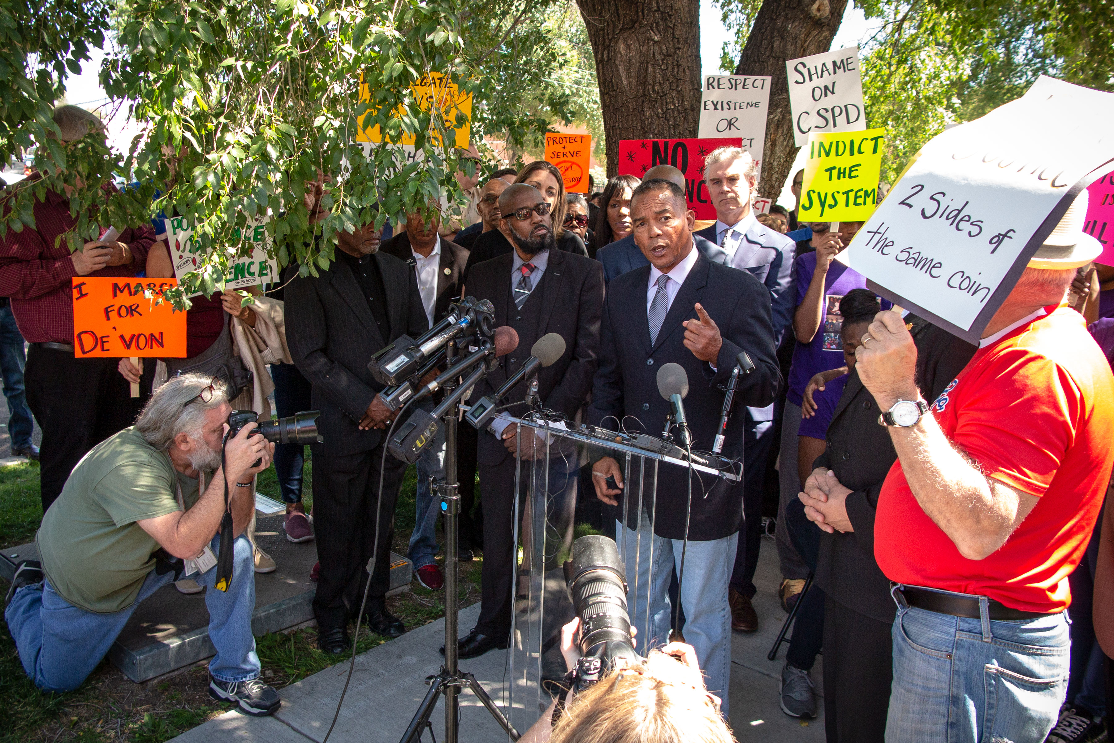 Reverend Promise Lee speaks at a press conference calling for an independent investigation into the death of De'Von Bailey, who was killed by Colorado Springs Police, outside of the department's operations center on Tue., Aug. 13, 2019.