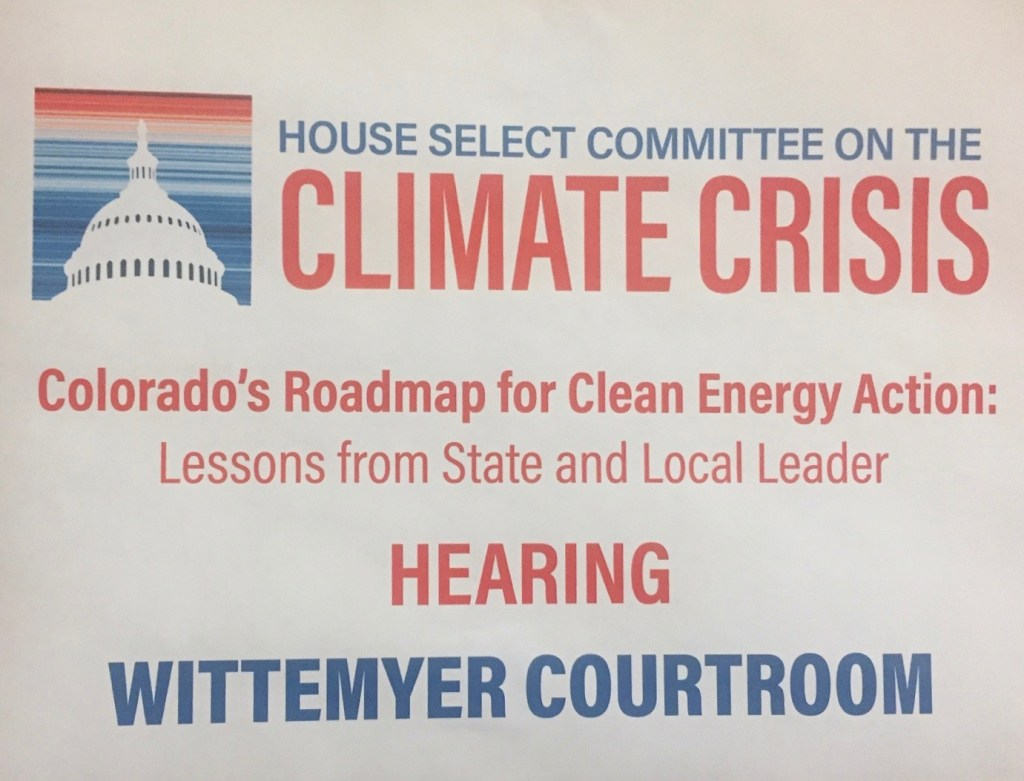 Sign on the door of the CU Boulder Law School's Wittemyer Courtroom