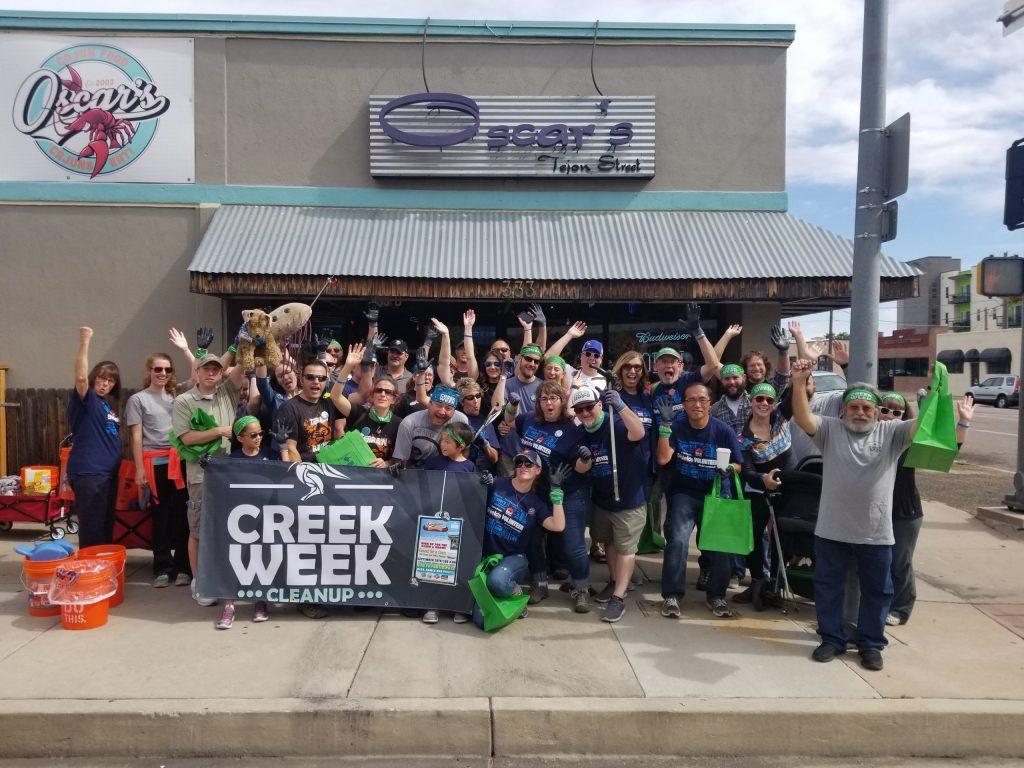 A group of volunteers following a previous Creek Week.