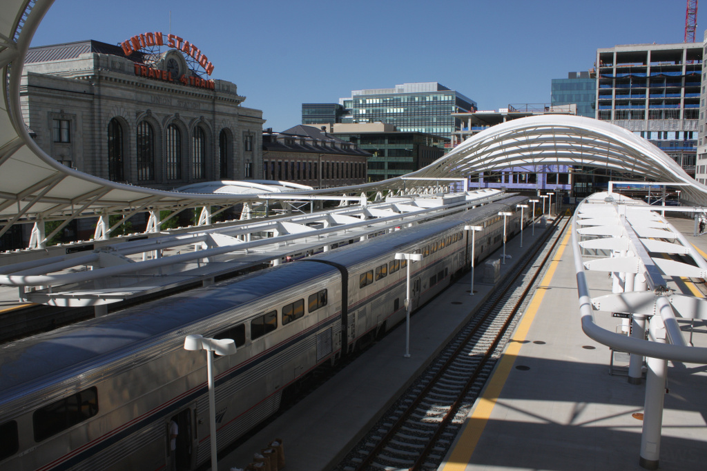 Amtrak's California Zephyr at Denver's Union Station. A proposed passenger train from Pueblo to Fort Collins could be operated by Amtrak, and could also stop at Union Station.