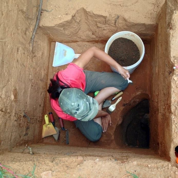 Colorado Springs' Lead Archaelogist Anna Cordova  looking for artifacts