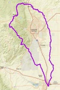 A map of the Fountain Creek Watershed.