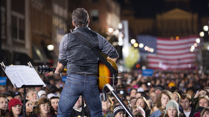 Bruce Springsteen performing in 2012 during a campaign rally for former President Barack Obama in Des Moines, Iowa.
