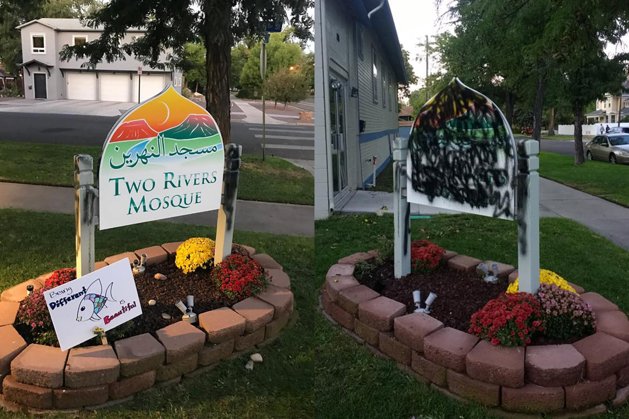 The sign in front of the Two Rivers Mosque in Grand Junction. On the left, clean, and on the right, vandalized. Video surveillance caught a man spray painting the sign and disturbing the flowerbed.