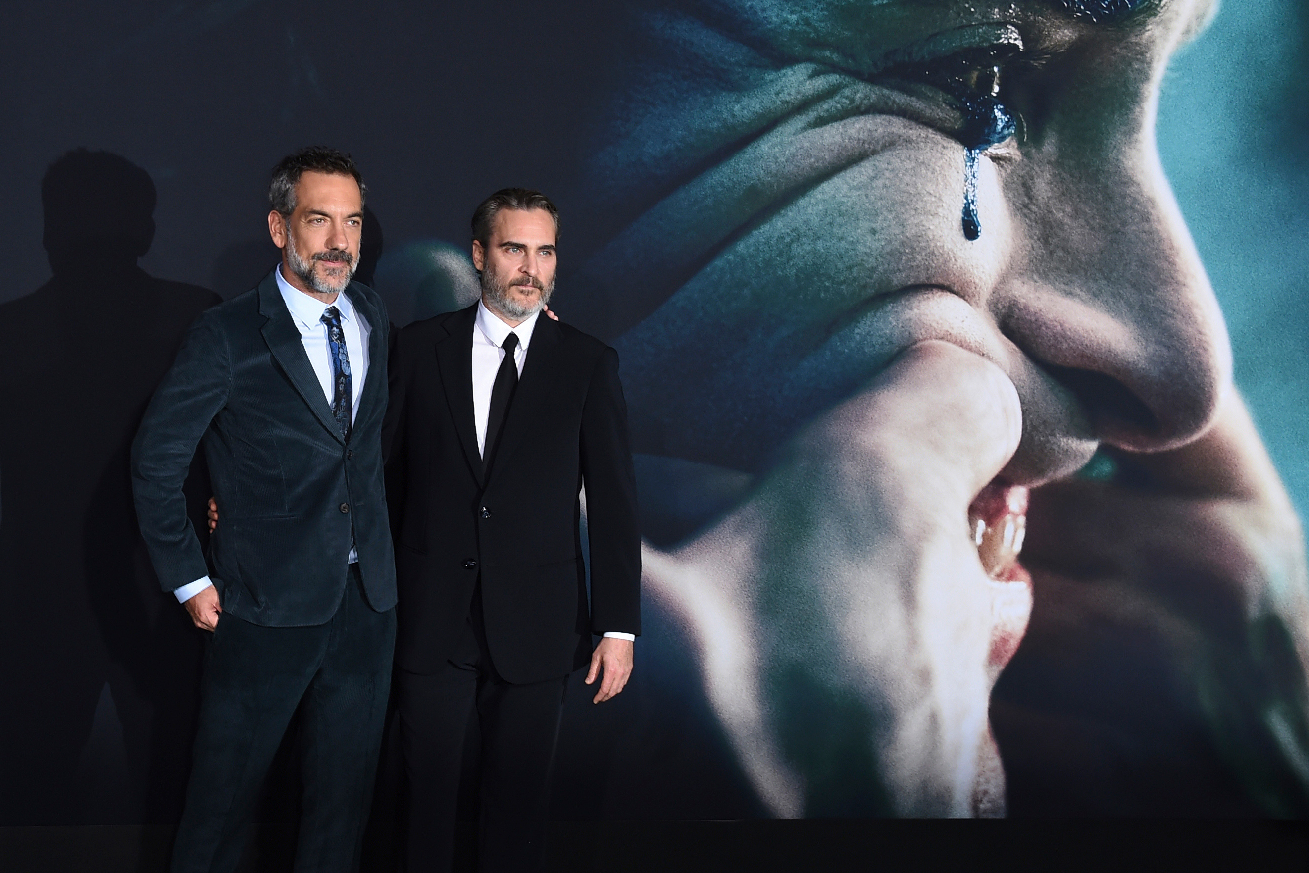 "Director Todd Phillips, left, and cast member Joaquin Phoenix arrive at the Los Angeles premiere of ""Joker"" at TCL Chinese Theatre on Saturday, Sept. 28, 2019."