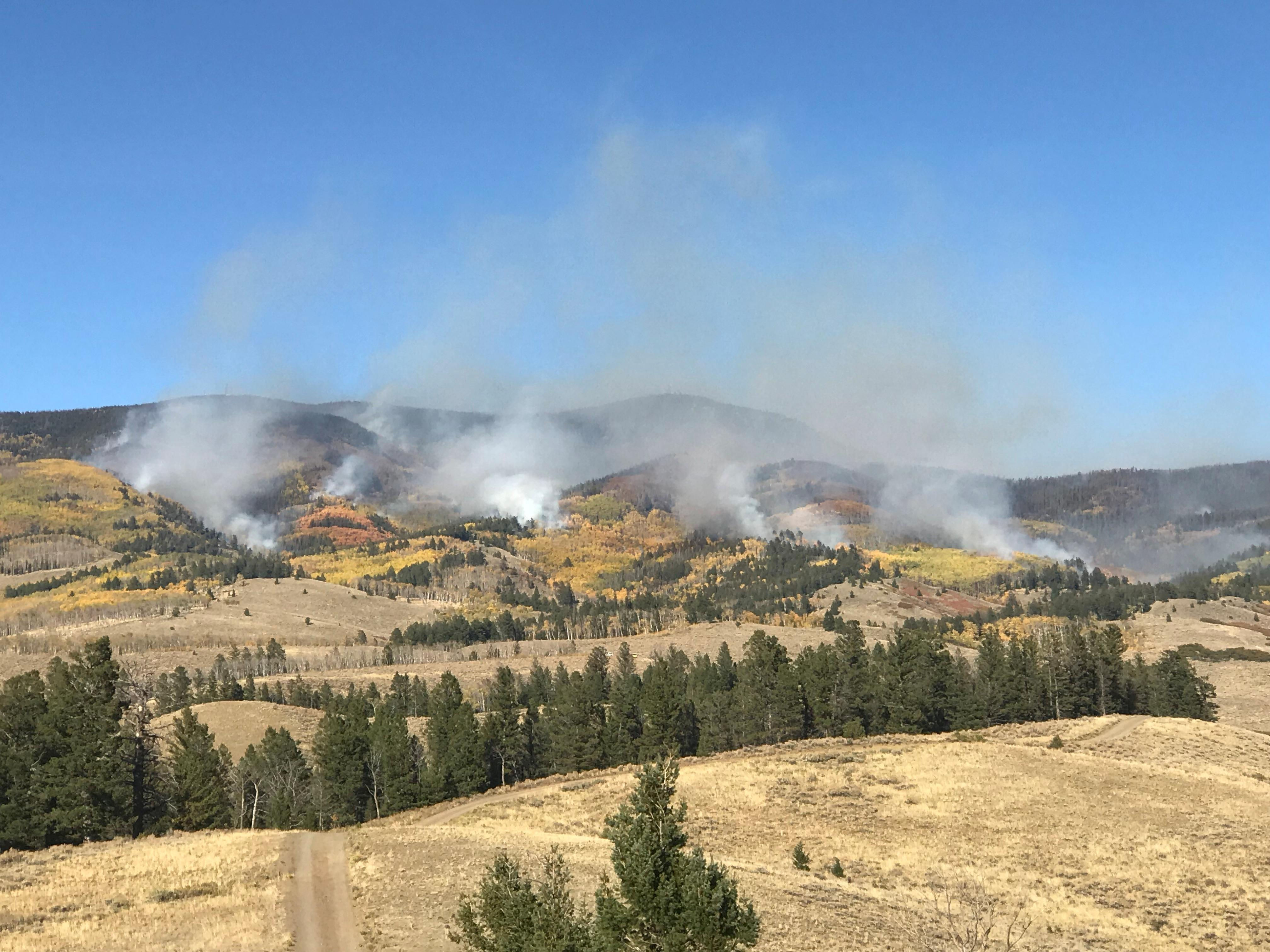The Decker Fire burns on the southwest part of its perimeter on Saturday, Oct. 5 in Saguache County.