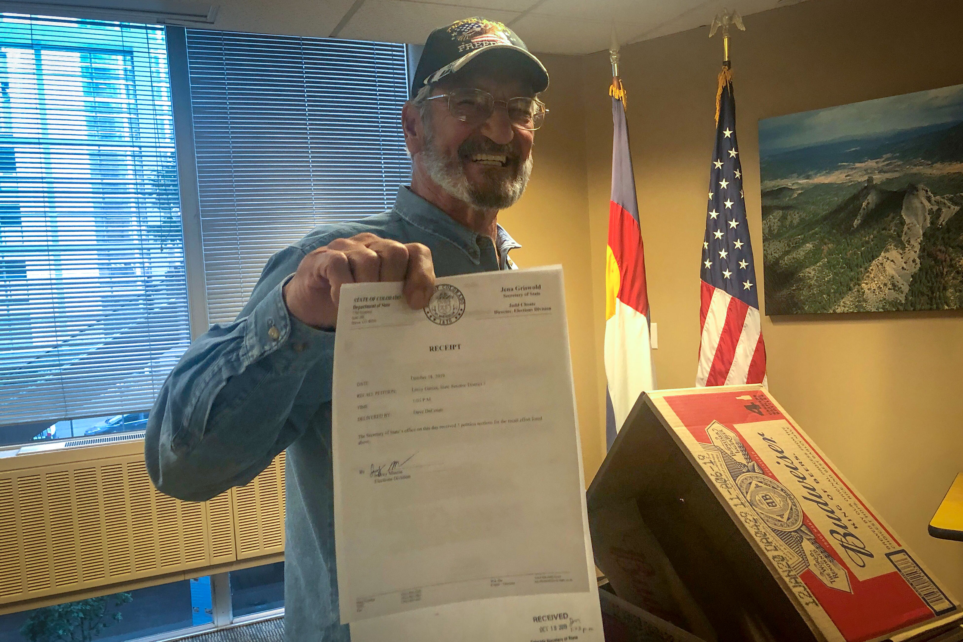 Campaign volunteer Joseph Santoro helped gather signatures in the failed recall effort against Democratic state Senate president Leroy Garcia.