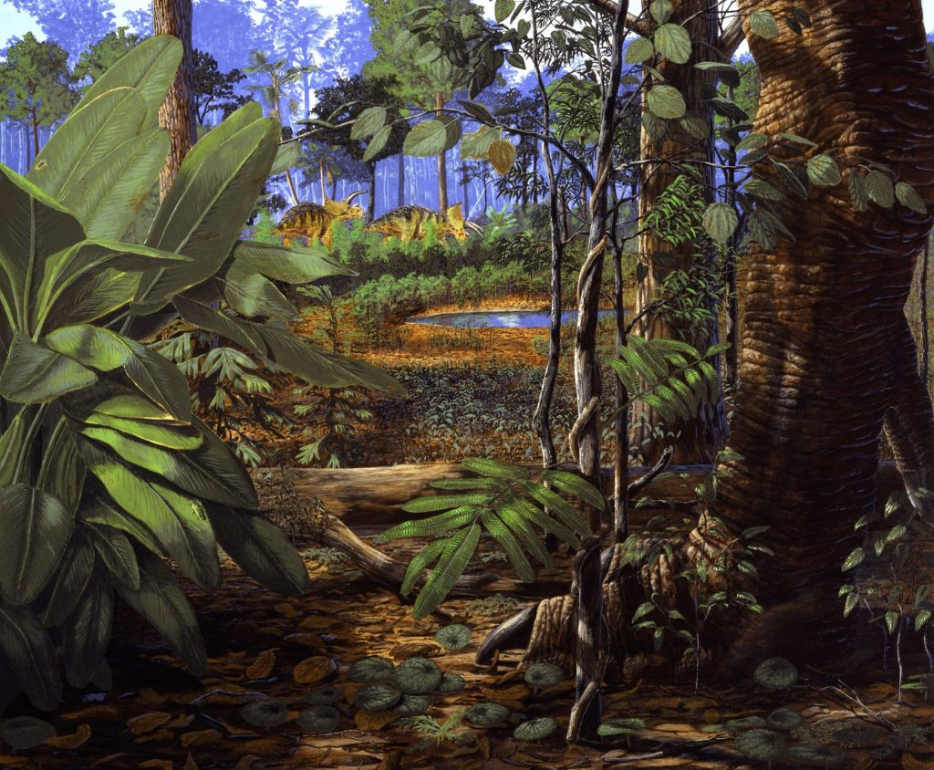 Artist rendering of a moment at the end of the Cretaceous period