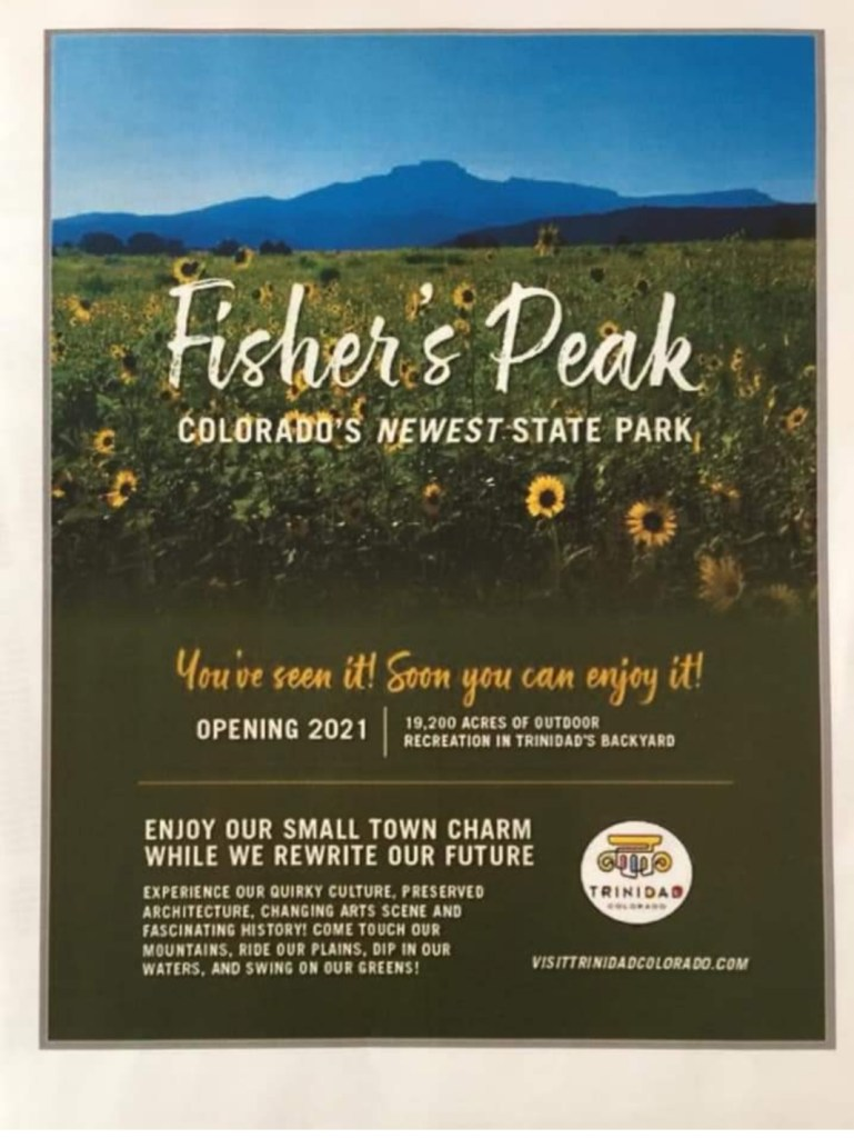A new ad from the Trinidad Tourism Board about the new state park. It will go in the next Colorado vacation guide.