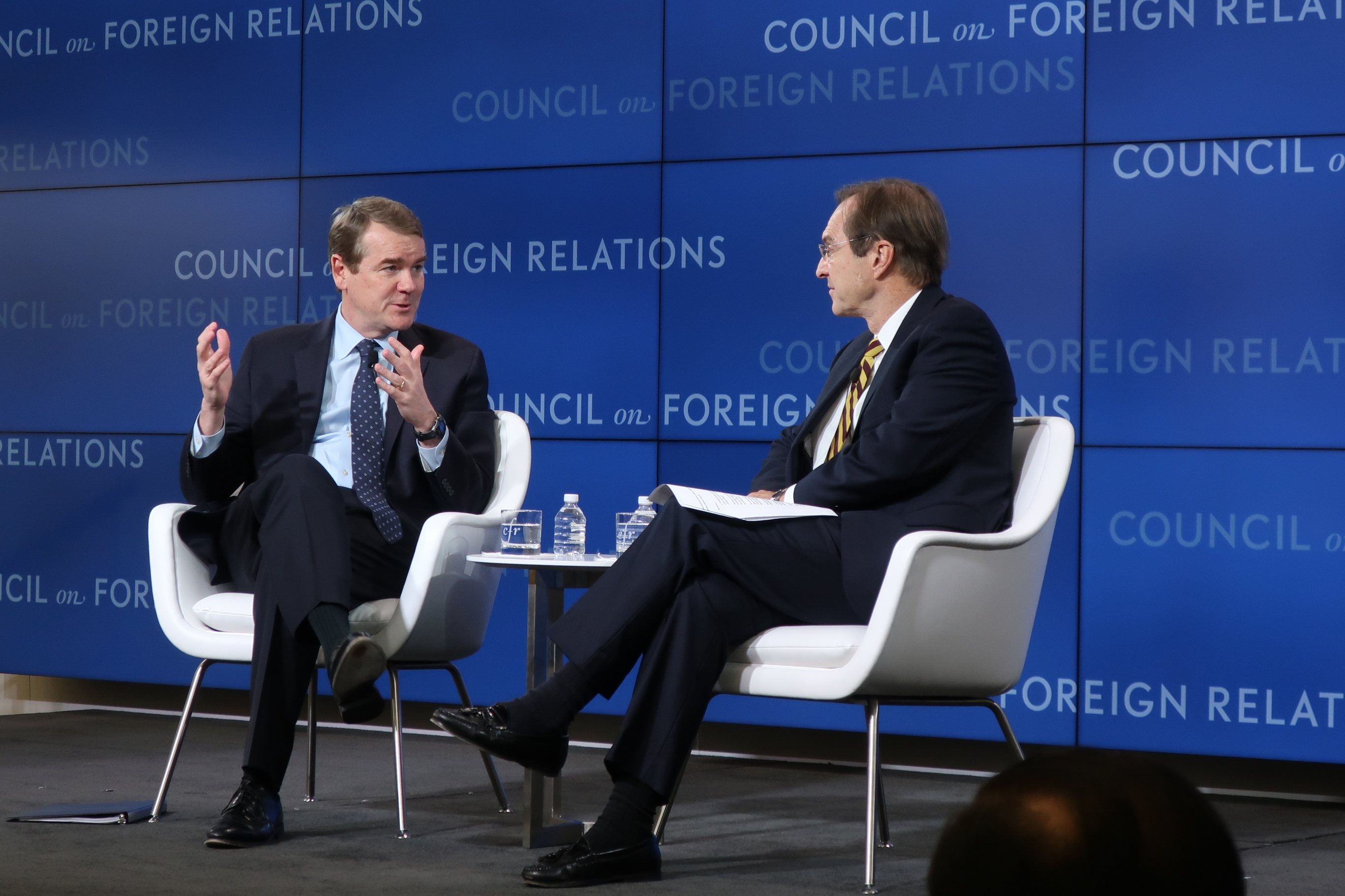 Sen. Michael Bennet shares his foreign policy beliefs at a Council on Foreign Relations event in Washington, D.C., on Nov. 20, 2019.