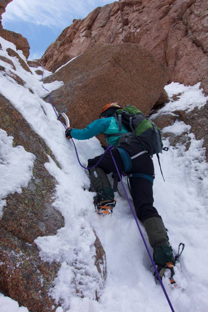 Ling Li often uses crampons, ropes and an ice axe to aid in her climbing. Many of the routes she frequents on Pikes Peak can only be accessed in the spring months and include slopes as steep at 70 degrees.
