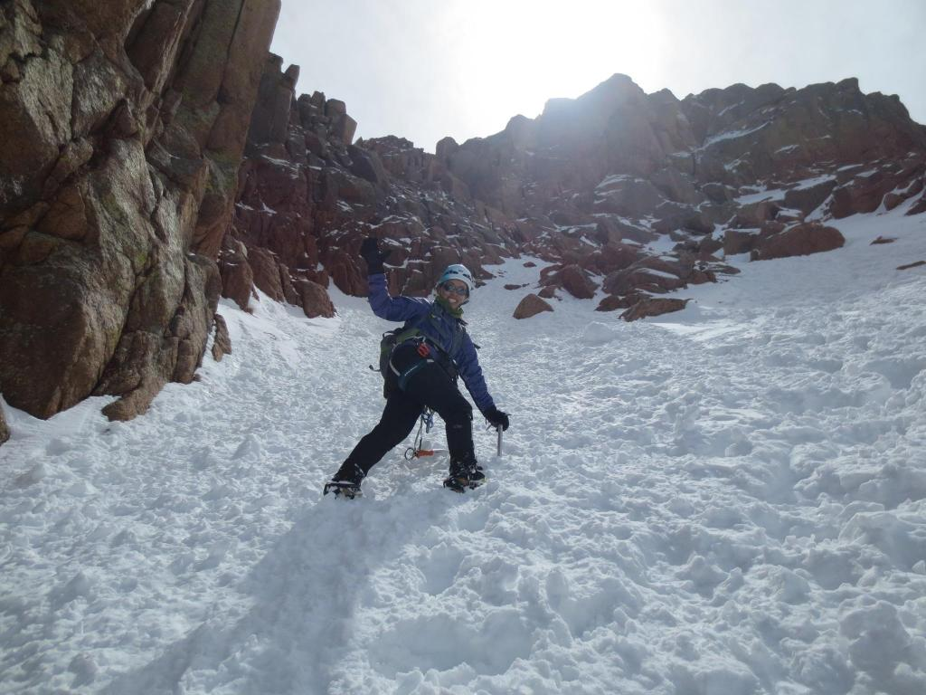 "Ling Li climbs to the summit of Pikes Peak. She prefers the technical climbing routes, rather than the ""touristy"" hiking paths."