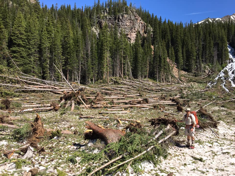 The destruction of a March 2019 avalanche is seen on Mount Solitude in the Gore Range about Pitkin Lake Trail.
