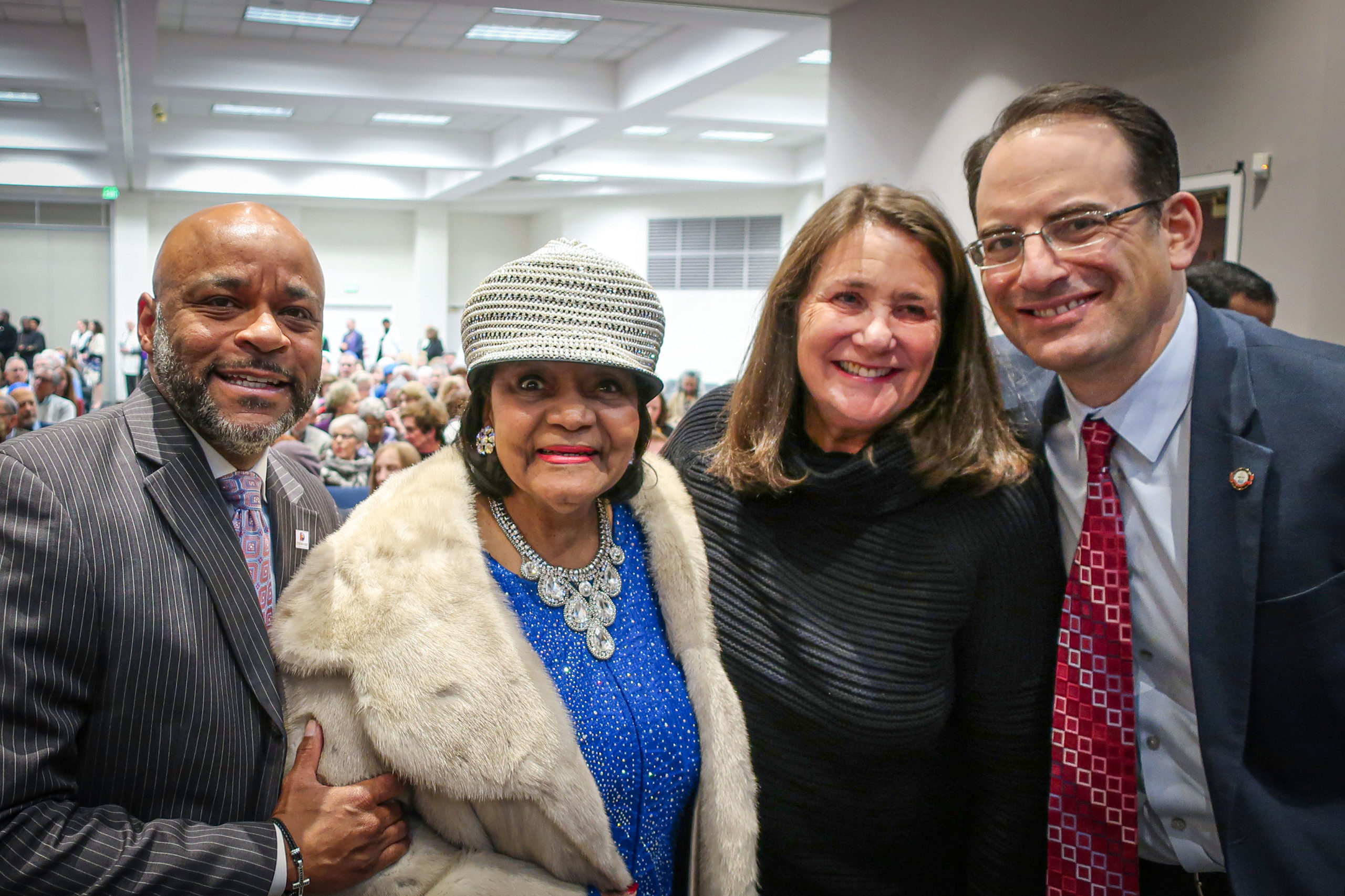 From left, Denver Mayor Michael Hancock, Syl Morgan Smith, Congresswoman Diana DeGette and Colorado Attorney General Phil Weiser were among those in attendance at a celebration of Dr. Martin Luther King Jr. at Temple Sinai in Denver on January 19, 2020.