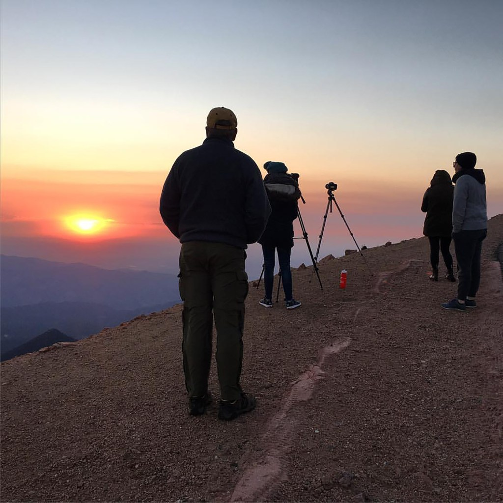 A sunrise from the summit of Pikes Peak.