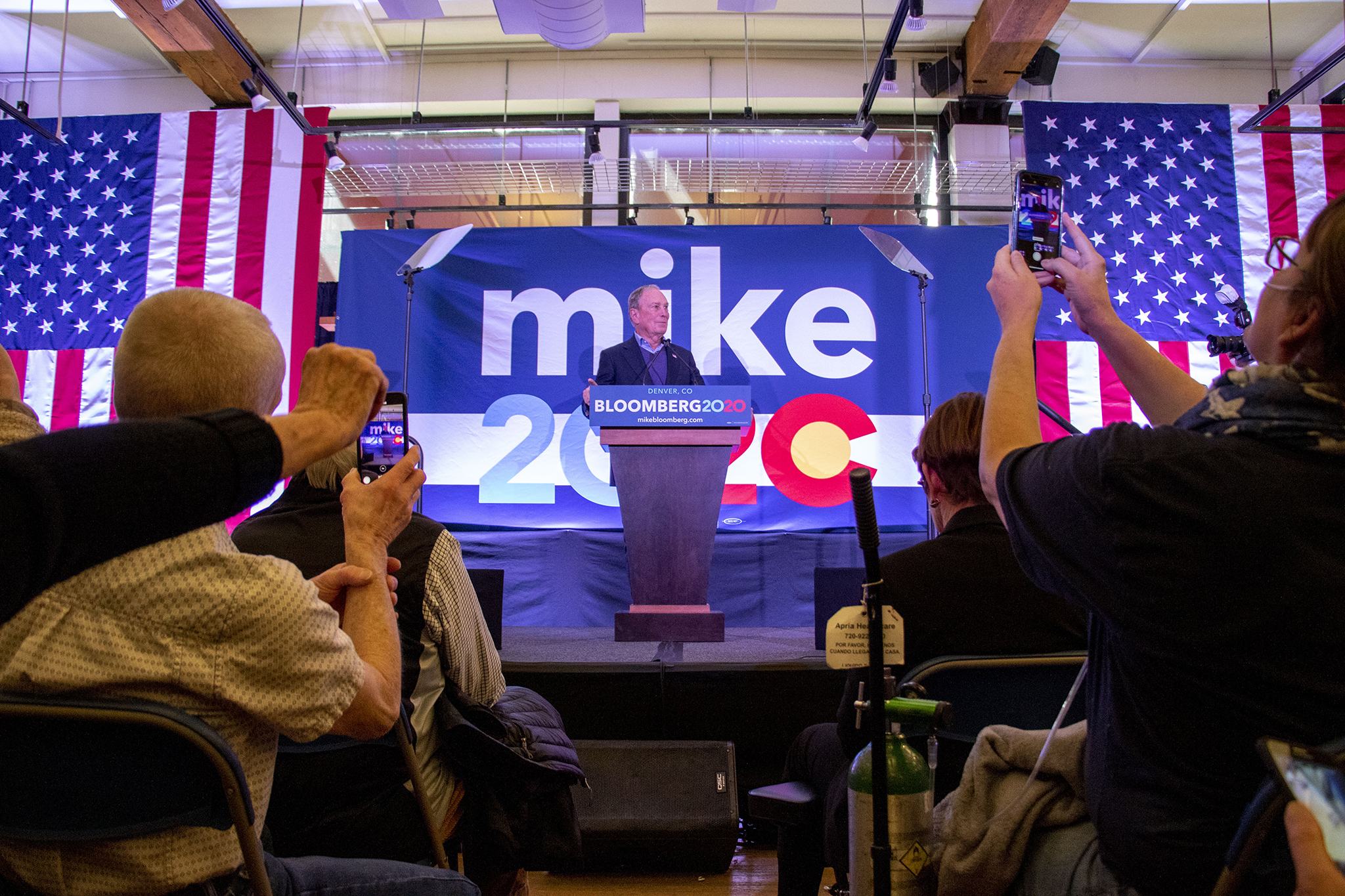 Mike Bloomberg speaks at the opening of his new campaign office in downtown Denver, Feb. 1, 2020.