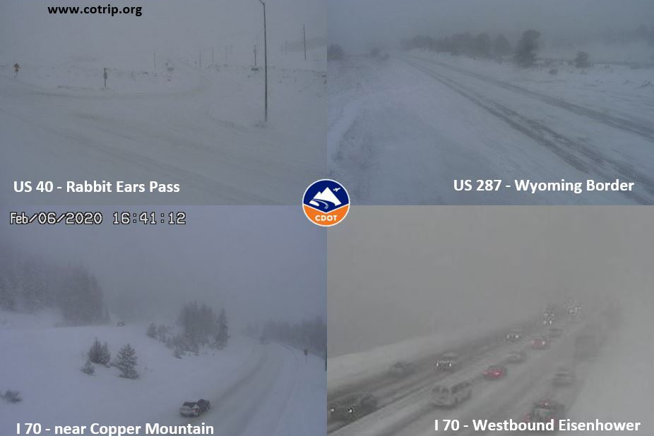 Snowy conditions on Colorado highways on Thursday afternoon.