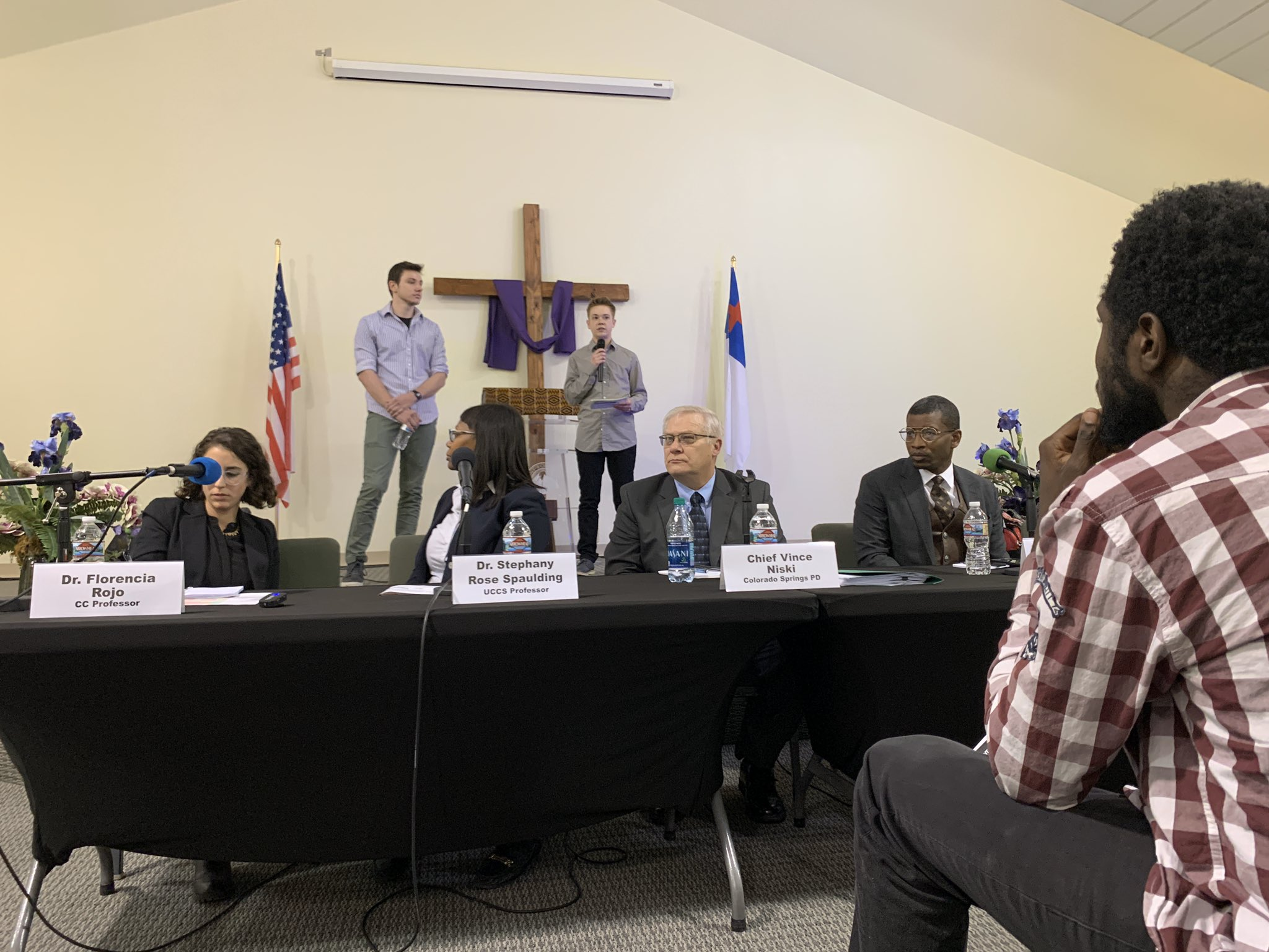 Colorado Springs Police Chief Vince Niski, Kevin Mitchell of the local NAACP, Senate candidate and professor Stephany Rose Spaulding spoke at a forum on policing at Relevant Word Ministries sparked by last year's shooting of De'Von Bailey in Colorado Springs on Feb. 6, 2020.