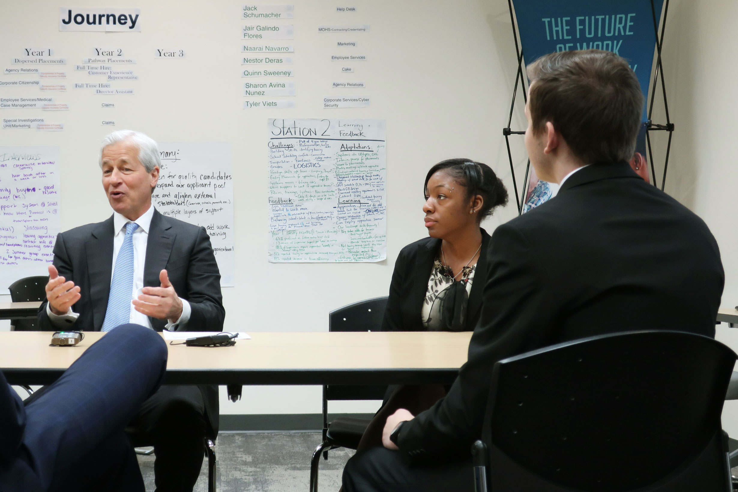 JP Morgan Chase chairman and CEO Jamie Dimon talking to Pinnacol Assurance apprentices.