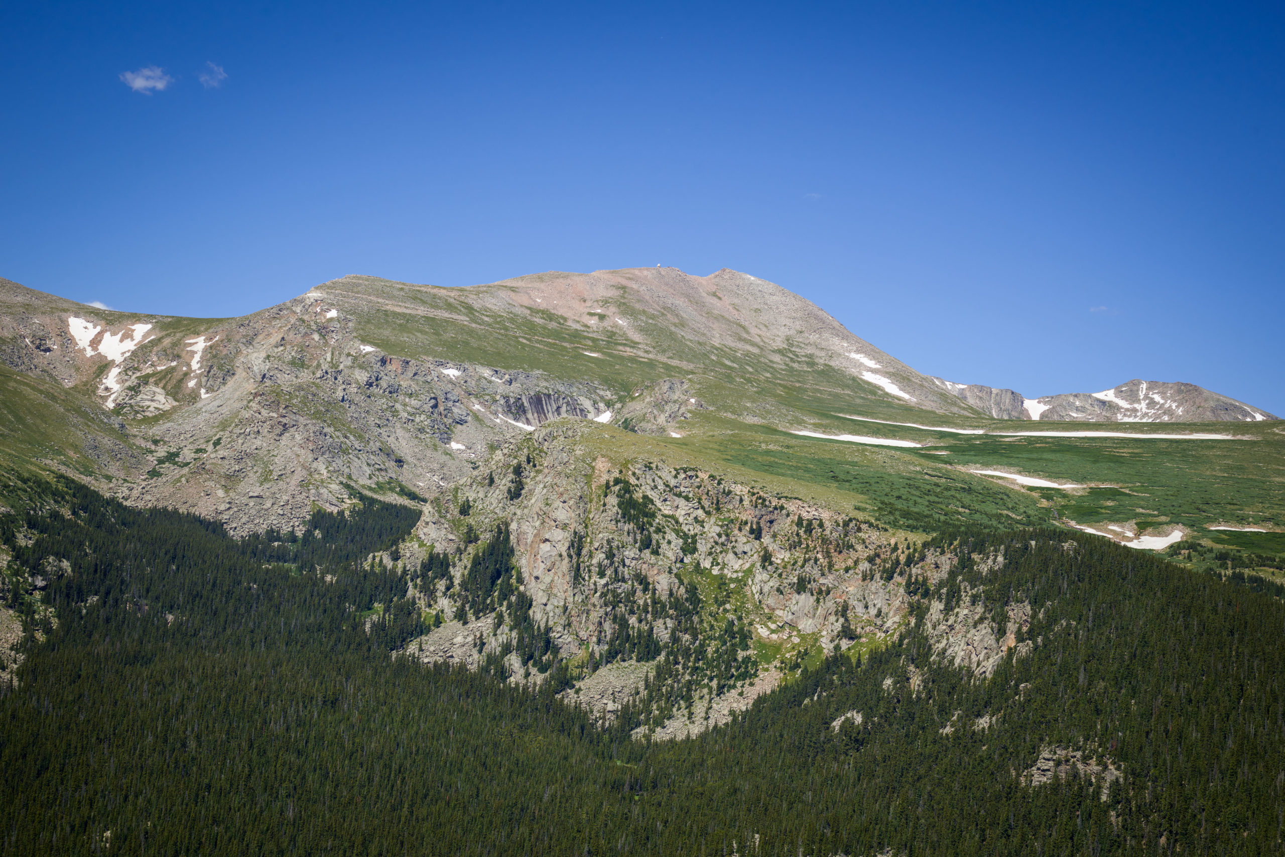 Aerial view of Mount Evans, at 14,241 feet the highest peak in the Chicago Peaks of the Front Range of the Rocky Mountains, in Gilpin County, Colo., July 10, 2016.