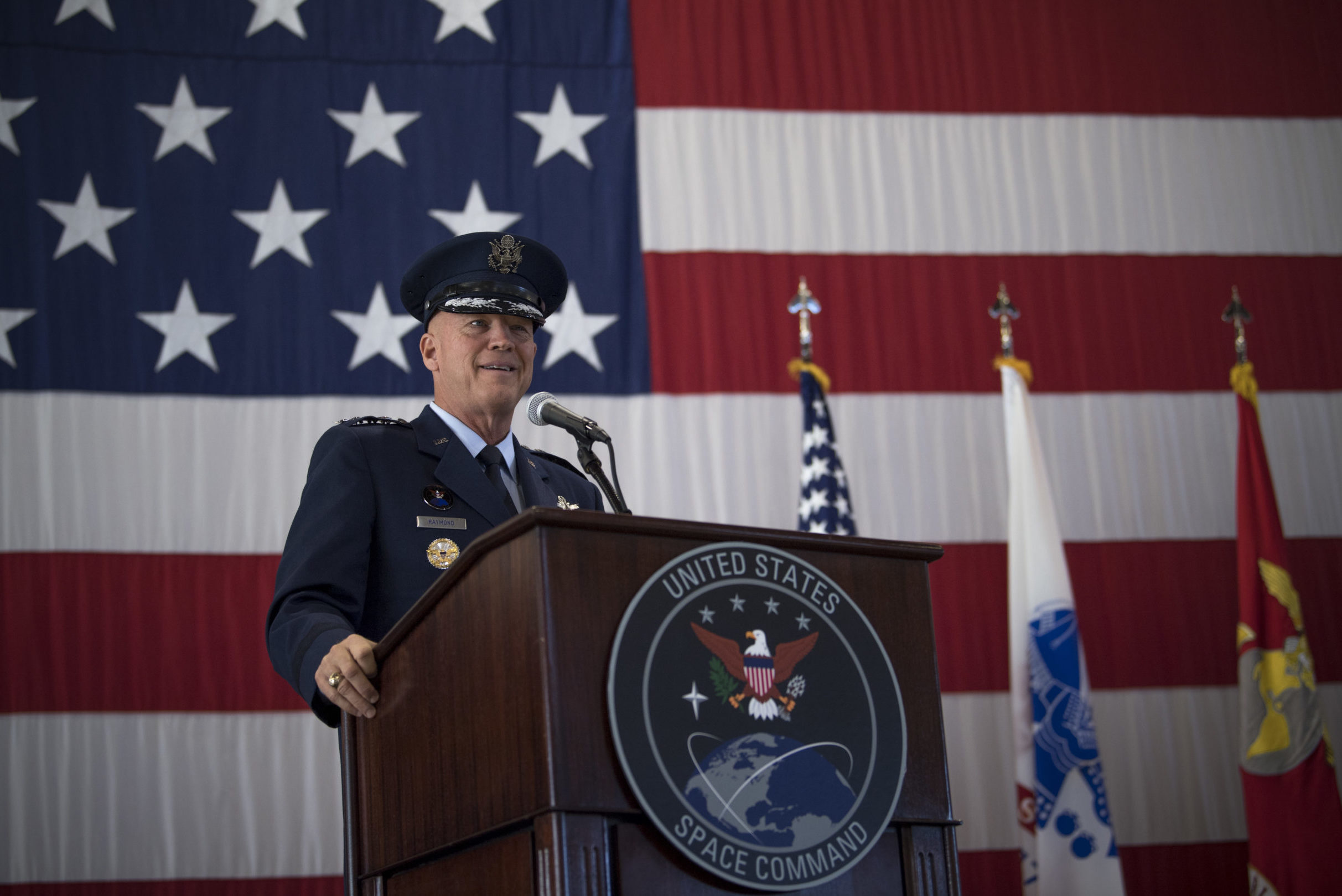 "Gen. John W. ""Jay"" Raymond, U.S. Space Command commander, recognized the establishment of the nation's 11th combatant command in a joint ceremony at Peterson Air Force Base, Sept. 9 2019."