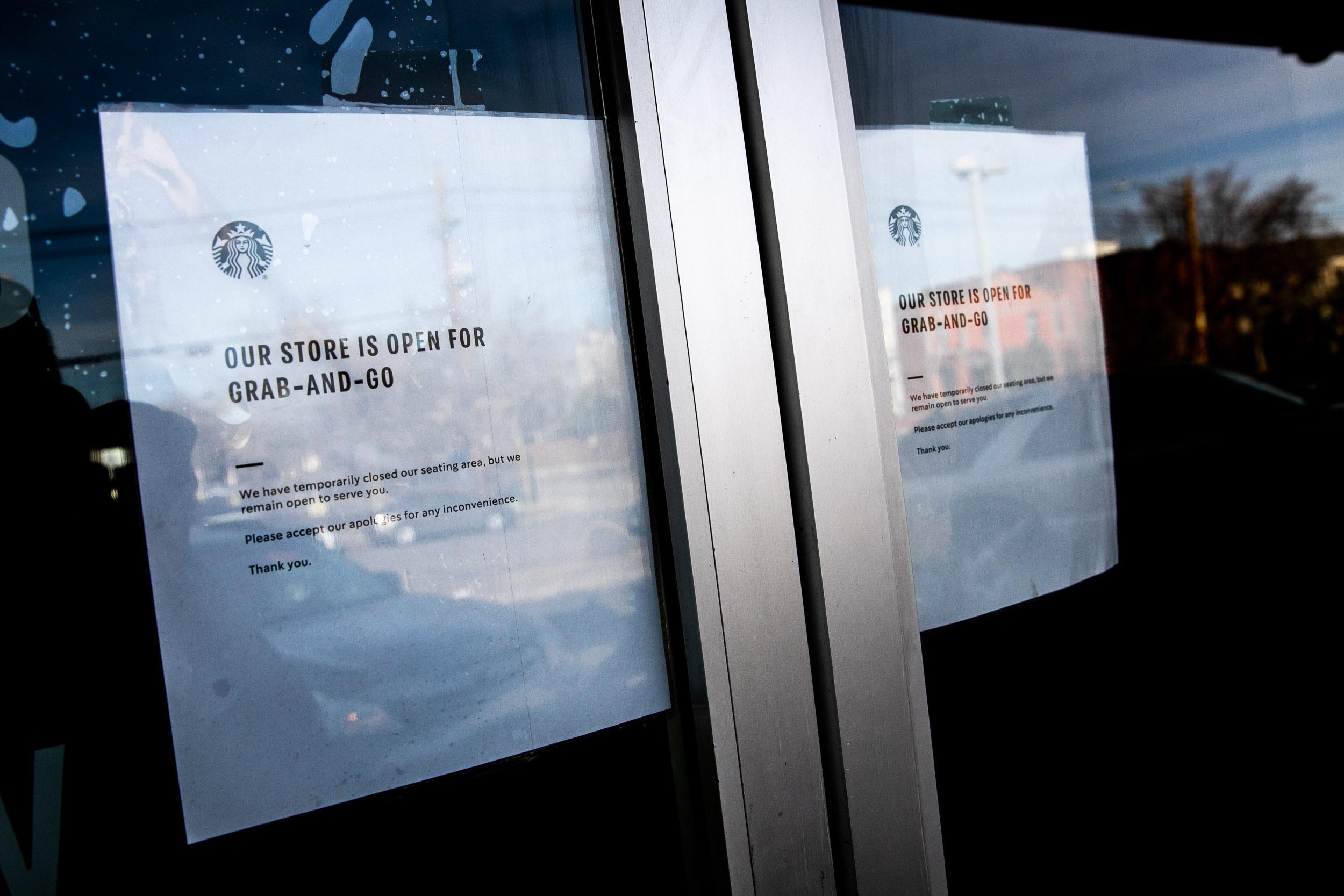 Coronavirus Starbucks No Seating Sign