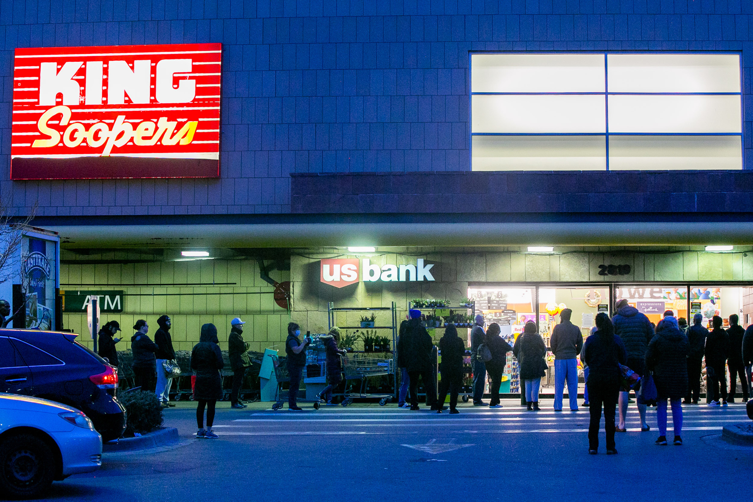 Coronavirus Shoppers Line Up Before Dawn At King Soopers