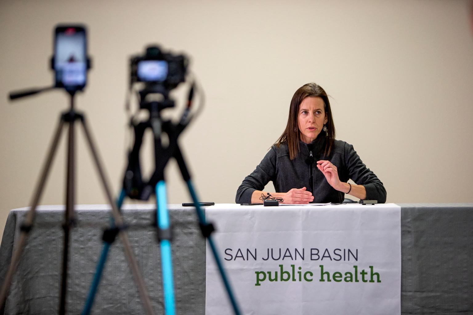 Liane Jollon, director of San Juan Basin Public Health, addresses the media Friday afternoon about their drive through coronavirus testing facility at the La Plata County fairgrounds.