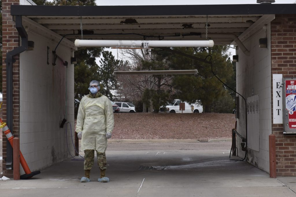Peterson Air Force Base, Colorado medical professionals established a COVID-19 testing location at the car wash, March 20, 2020 to help limit the possible spread of the virus.