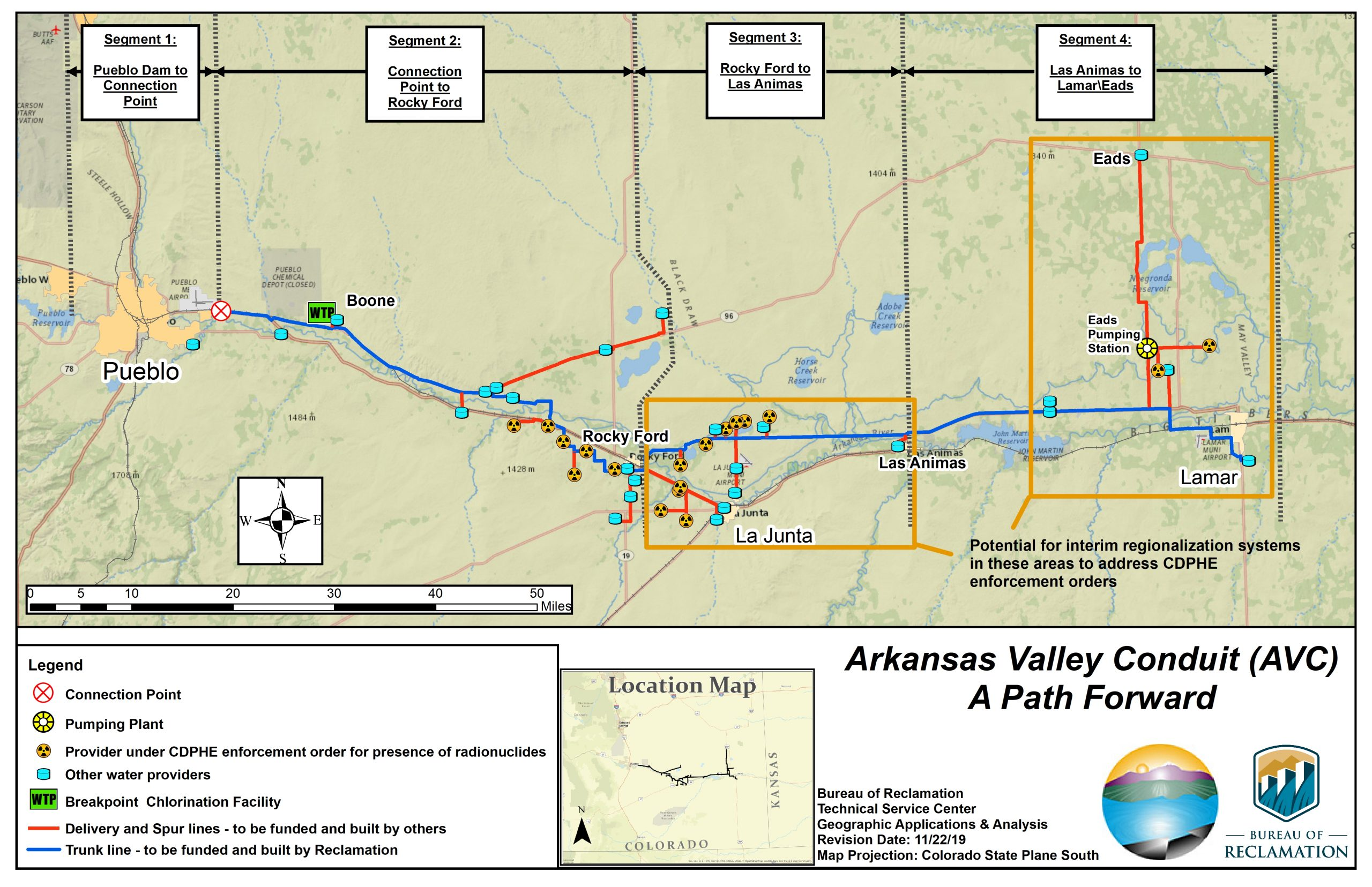 A map of the planned Arkansas Valley Conduit.