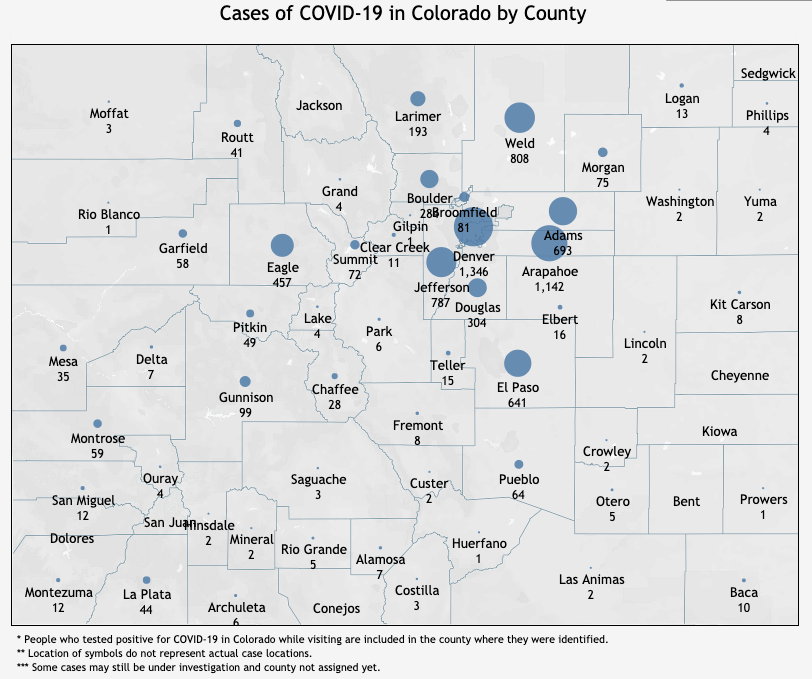 State data indicates known COVID-19 cases at the county level. Complete from the Colorado Department of Public Health and Environment as of Sun. April 12.