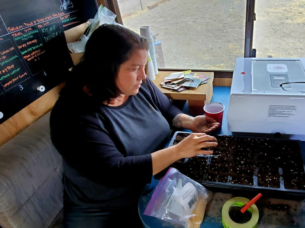 We Are FARMily Co-Executive Director, Jenn White, starting Pueblo chile seeds donated by Pueblo Seed Company. Since their home is still under construction, much of the Grow Feed Change Project's early work during cold weather has been done at their RV's table.