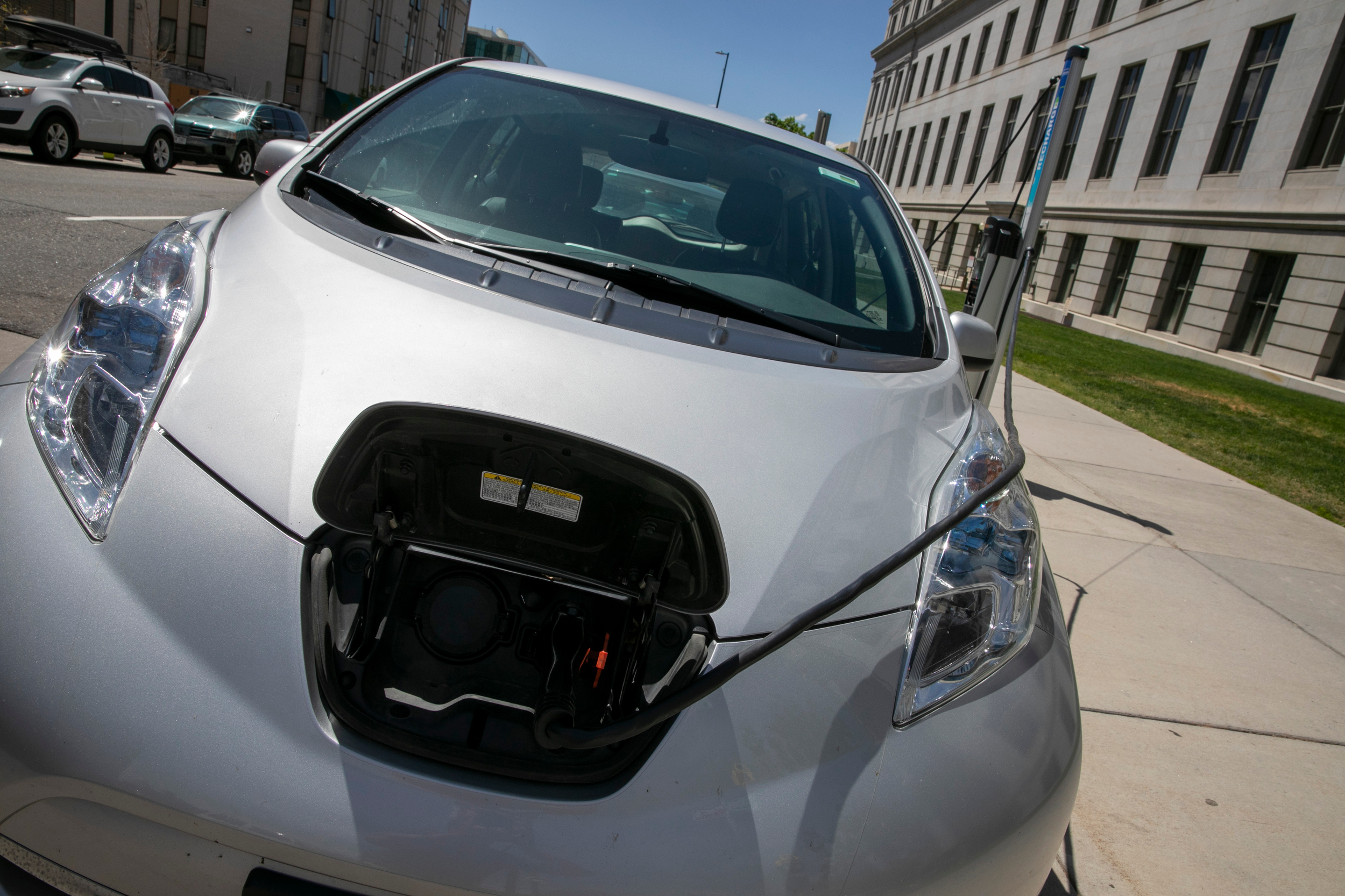 A charging station for electric-powered cars outside Denver's City and County Building