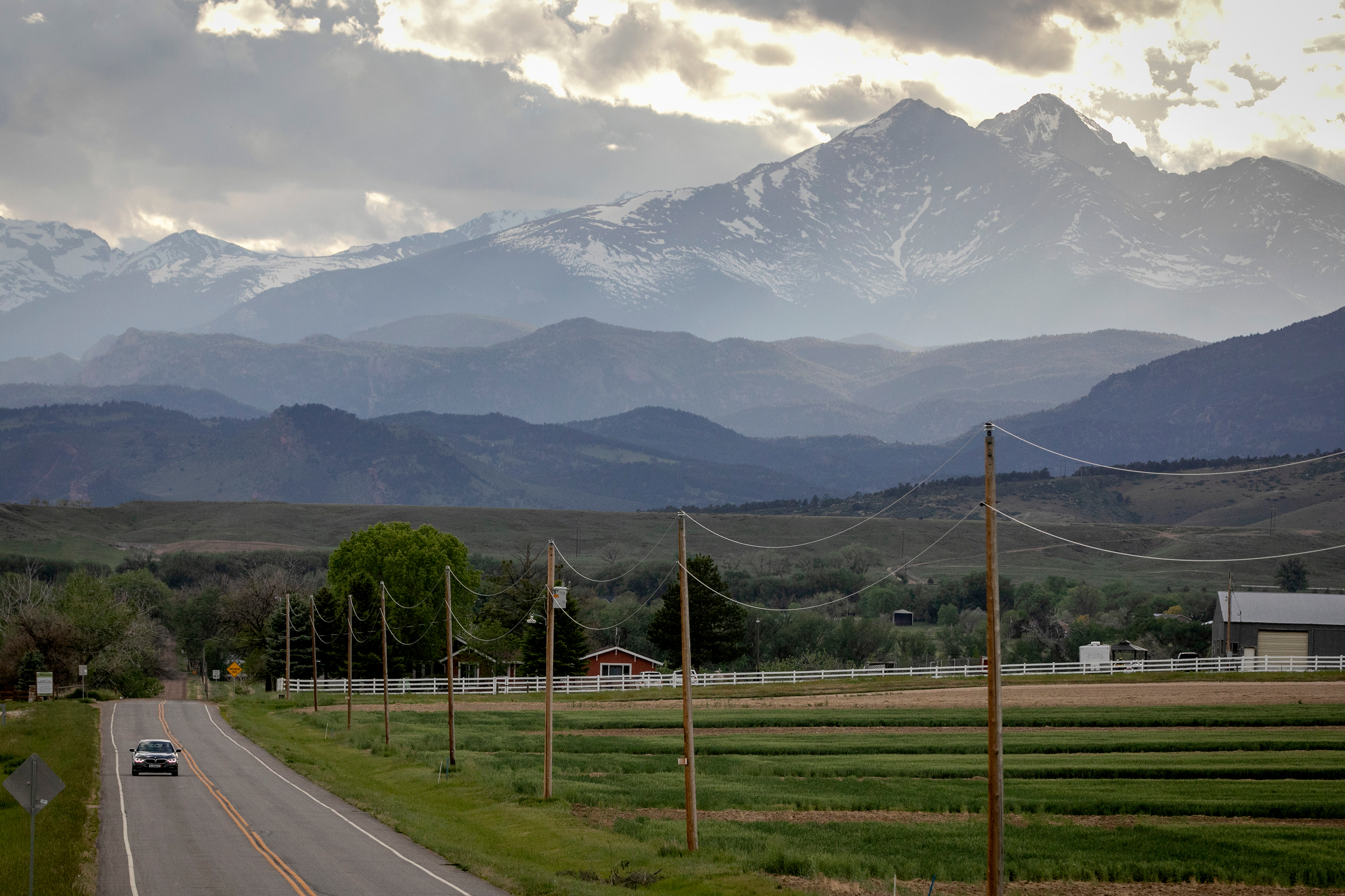 Fourteener Longs Peak Mountain Looms Over Farmland Near Berthoud