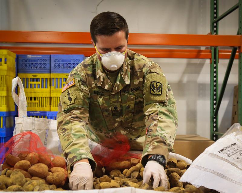 Spc. Trent Bostic of the North Carolina National Guard examines and sorts produce at a Food Bank.