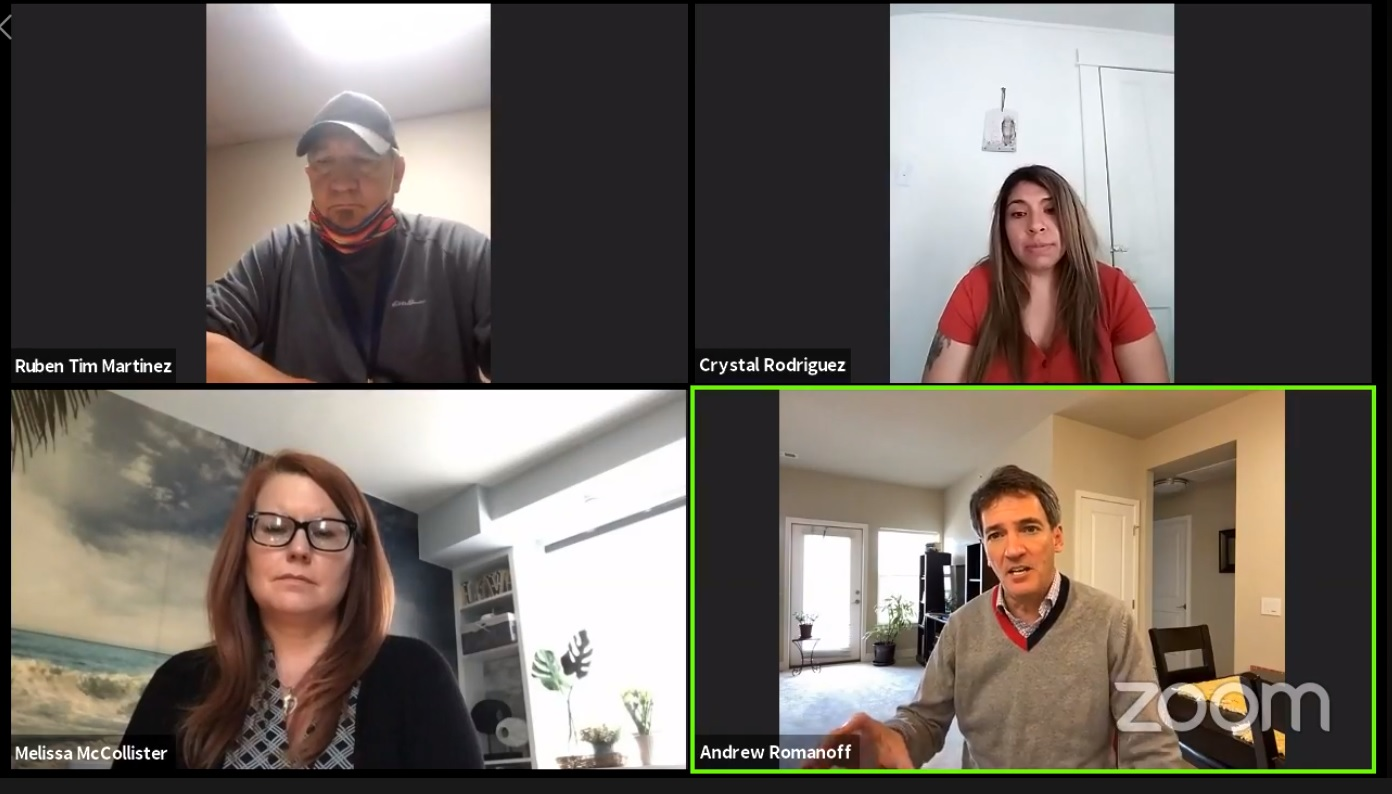 Andrew Romanoff (bottom right) holds a virtual townhall for nternational Workers Day. Like many others, he's pivoted to online campaigning as candidates and voters are stuck at home.