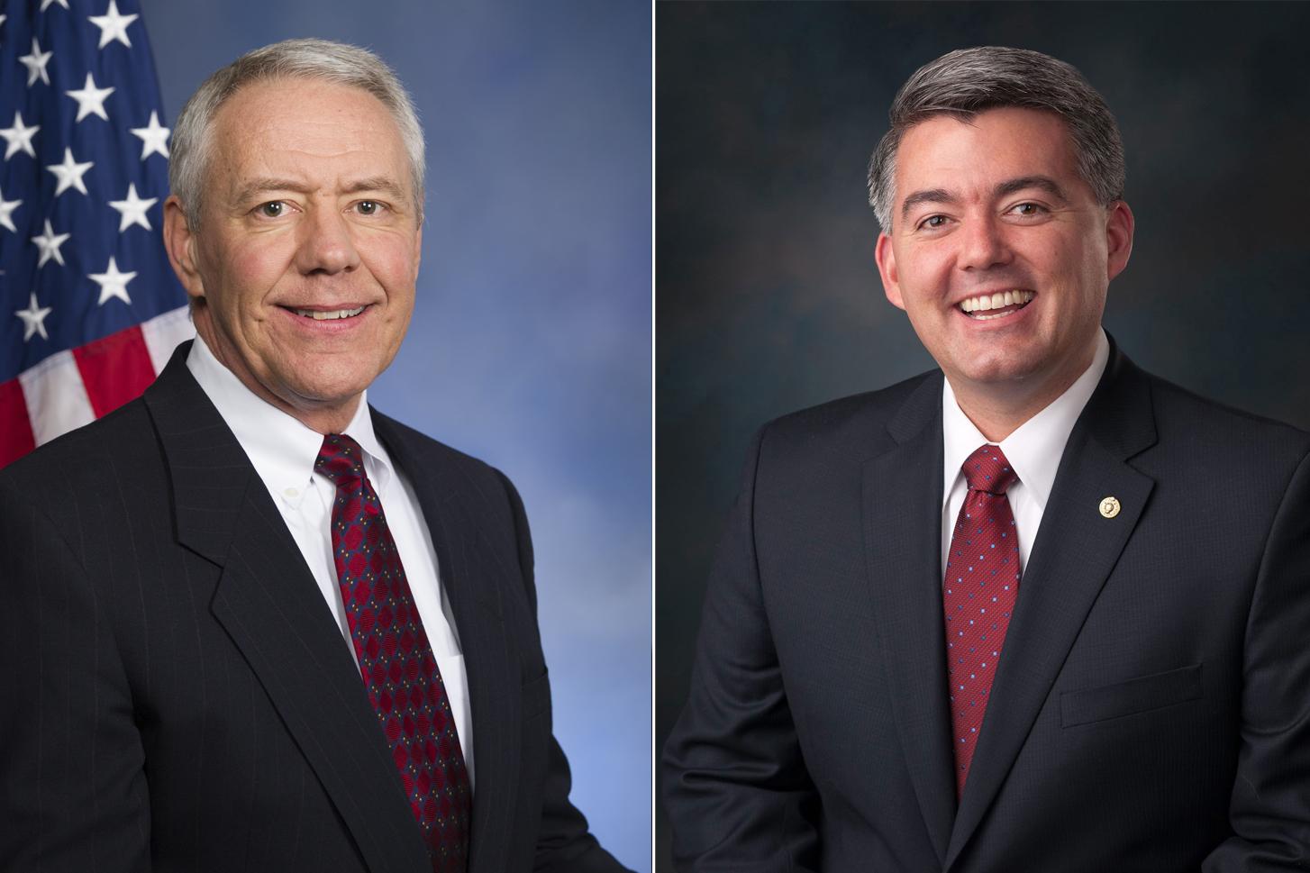 Republican Rep. Ken Buck, left, and Republican Sen. Cory Gardner.