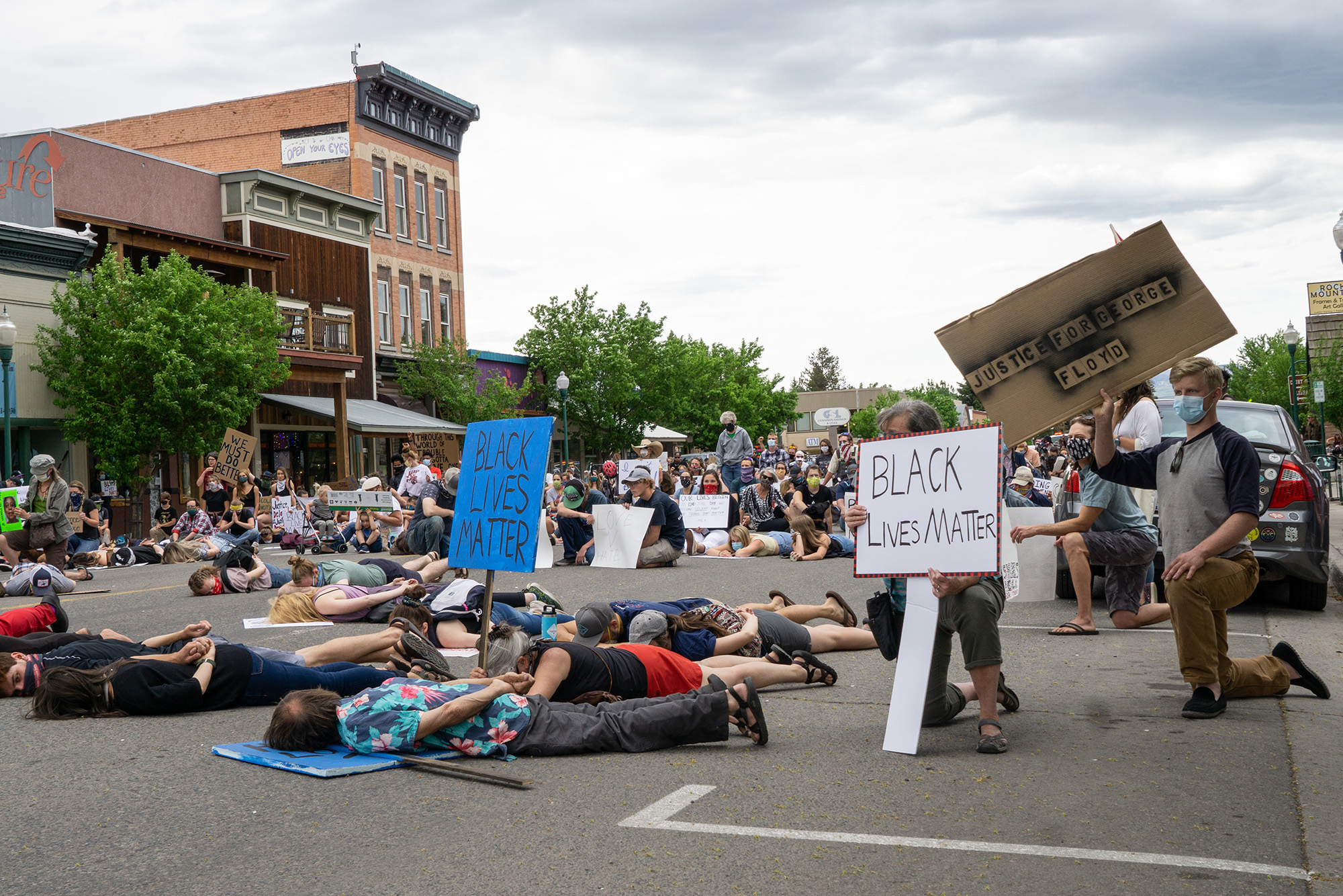 Protesters in Gunnison demonstrating against police brutality and the death of Geroge Floyd.