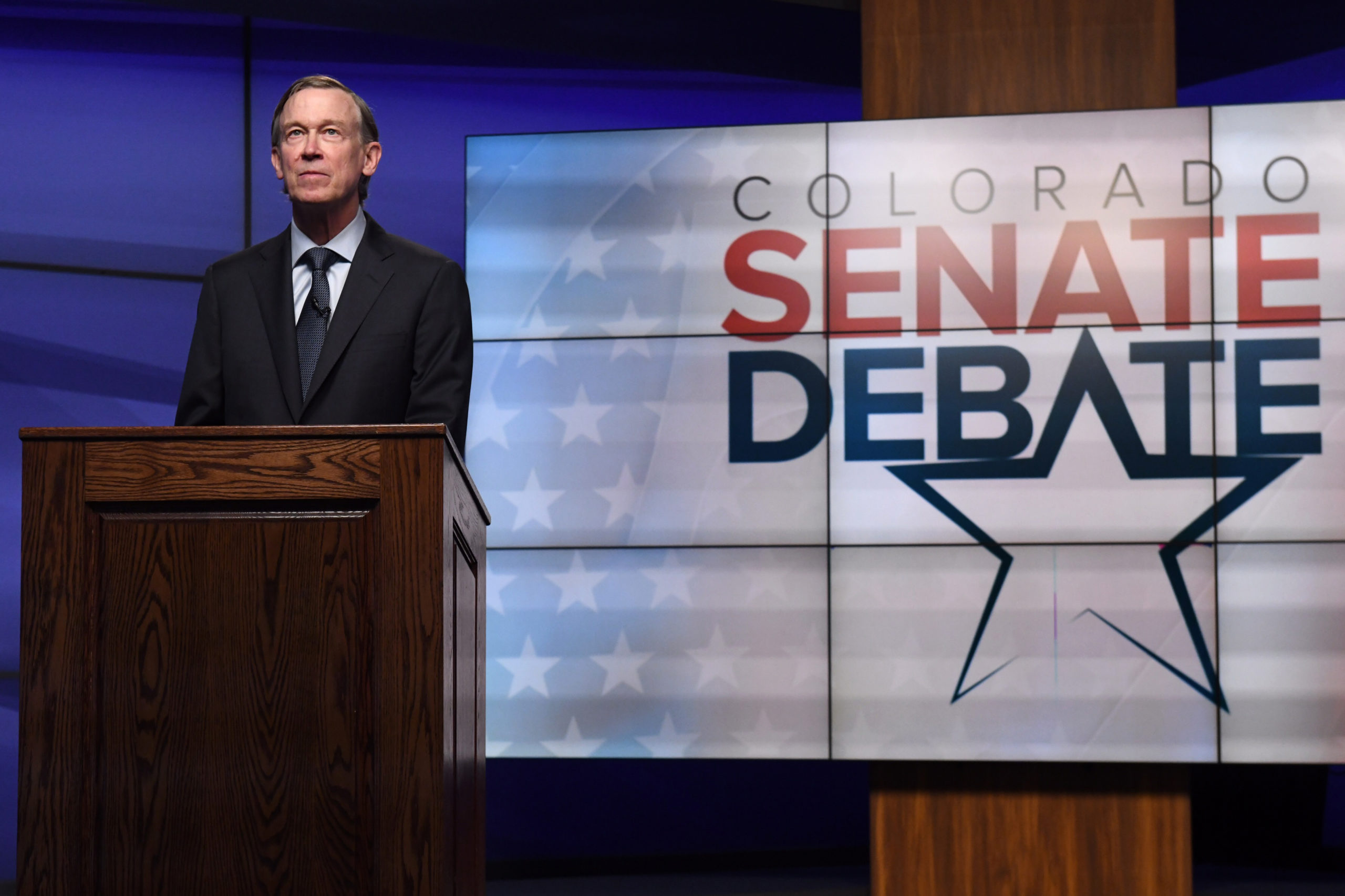 Former Colorado Gov. John Hickenlooper faces off against former state House speaker Andrew Romanoff for a debate in the studio of Denver7 in Denver on Tuesday, June 16, 2020. The debate, held ahead of the Democratic primary, was sponsored by The Denver Post, Colorado Public Radio News, Denver7 and the University of Denver's Center on American Politics. The winner of the June 30 primary will go on to face incumbent Republican Colorado Sen. Cory Gardner in November's general election.