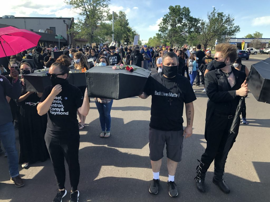 During a Colorado Springs City Council work session on the idea of forming a police advisory committee, protesters marched to remember lives lost.