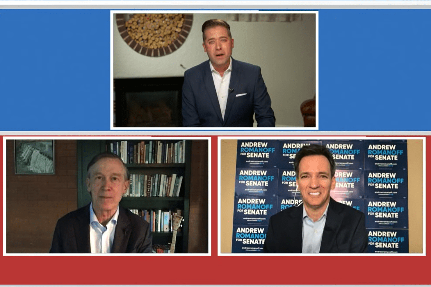 John Hickenlooper and Andrew Romanoff, Colorado's Democratic candidates for the U.S. Senate, participate in their first one-on-one debate before the primary election with 9 News anchor Kyle Clark.