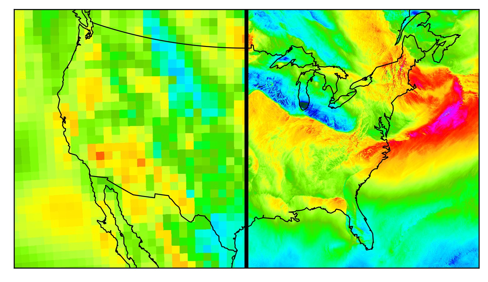 A before and after of the same climate data with enhanced resolution.