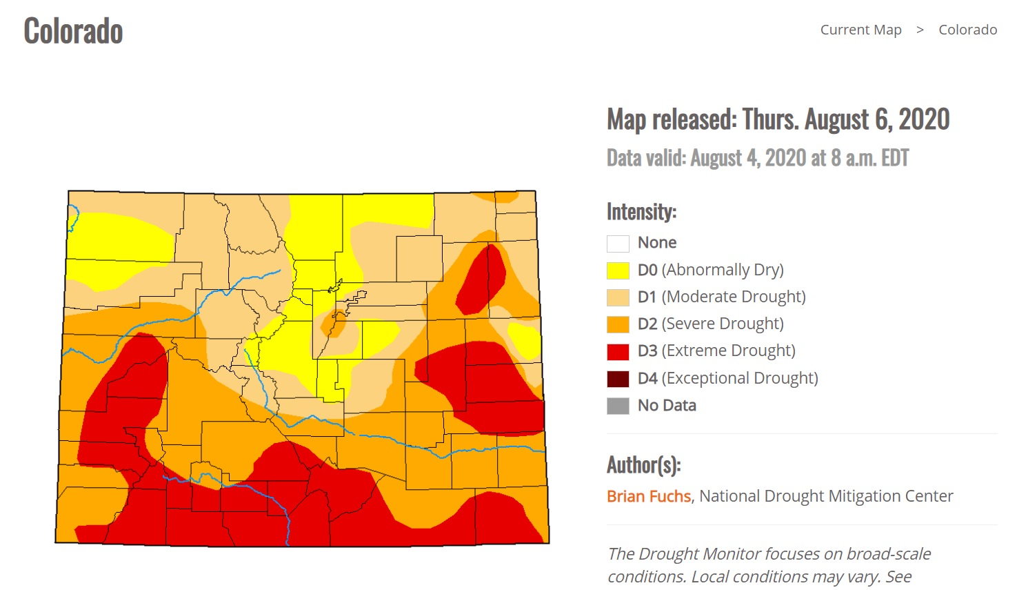 The August 6  Colorado drought map from the U.S. Drought Monitor.