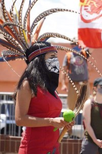 Dancer and Rapper Tziavii Stevens, also known as T-Roze, at a protest of the Columbus Statue in Pueblo.